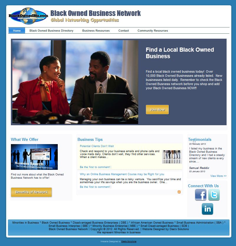 Black Owned Business Network website