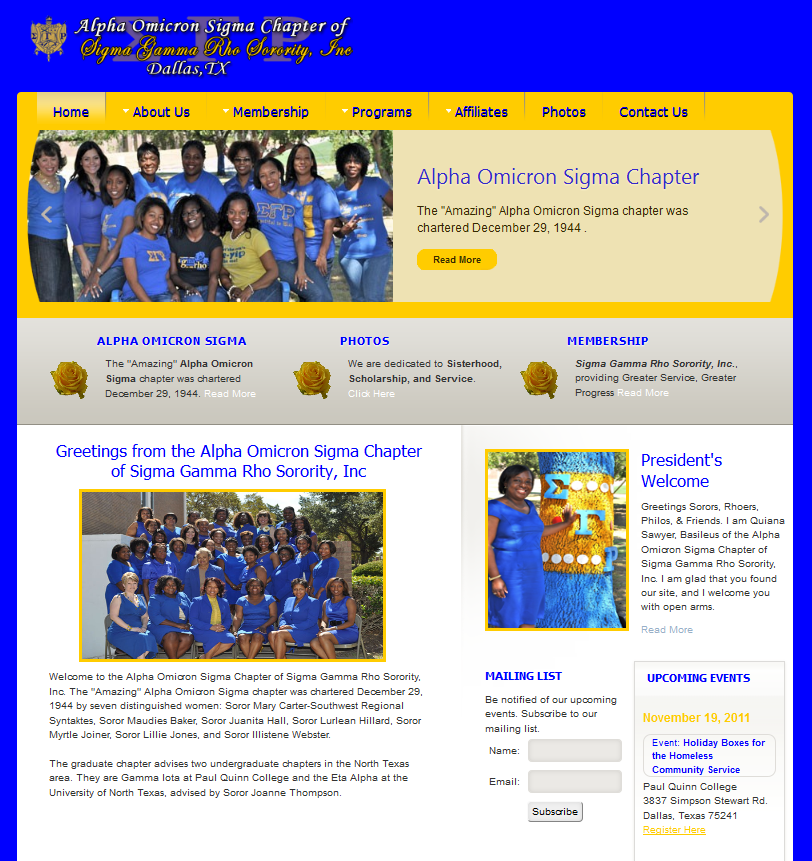Alpha Omicron Sigma Chapter of Sigma Gamma Rho Sorority, Inc. website design